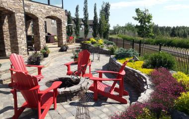 Paving Stone Patio, ROX Garden Rock Wall and Mass Planting of Perennials