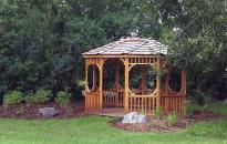 Landscaping Around a Gazebo at the Gardens at the Kerry Wood Nature Centre, Red Deer.